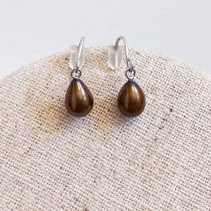 Genuine Brown Pearl Dainty Drop 925 Hook Earrings